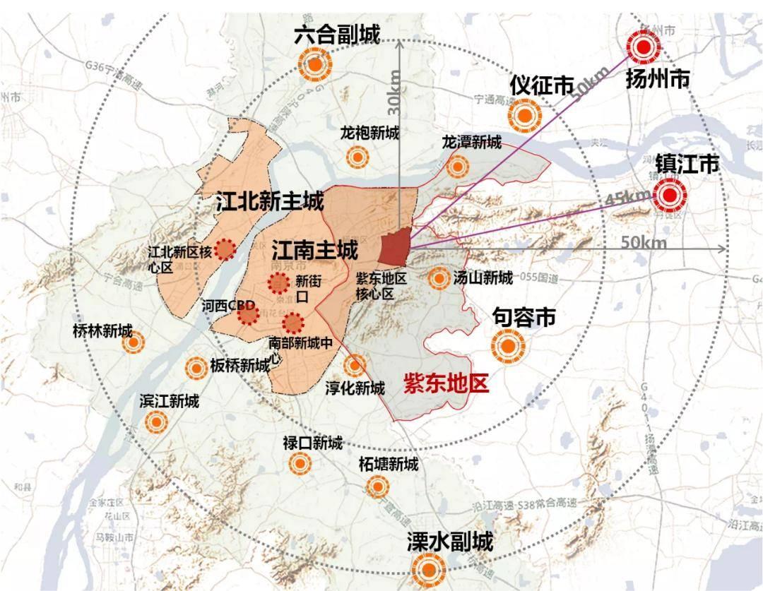 紫東地區及其核心區輻射影響示意圖。來源:南京規劃資源