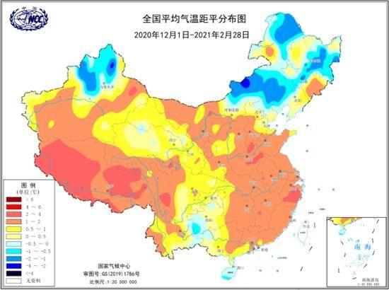 2020/2021年冬季全国平均气温距平分布图