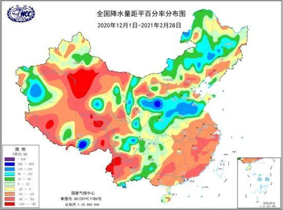 2020/2021年冬季全国降水量距平百分率分布
